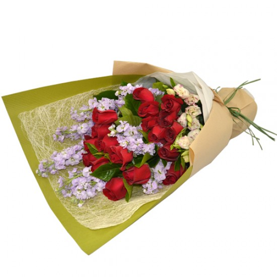 18pcs Roses Bouquet with Purple Flowers for Fathers Day